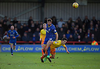 Luke O'Nien of Wycombe Wanderers is brought down by Jonathan Meades of AFC Wimbledon during the Sky Bet League 2 match between AFC Wimbledon and Wycombe Wanderers at the Cherry Red Records Stadium, Kingston, England on 21 November 2015. Photo by Alan  Stanford/PRiME.