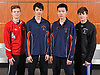 The 2017 Newsday All-Long Island boys fencing team poses for a group portrait during the All-Long Island photo shoot at company headquarters on Monday, March 27, 2017. From left: Jake Hempe of Newfield, Steven Grams of Great Neck South, Edmond Wu of Great Neck South and Philip Acinapuro of Garden City.