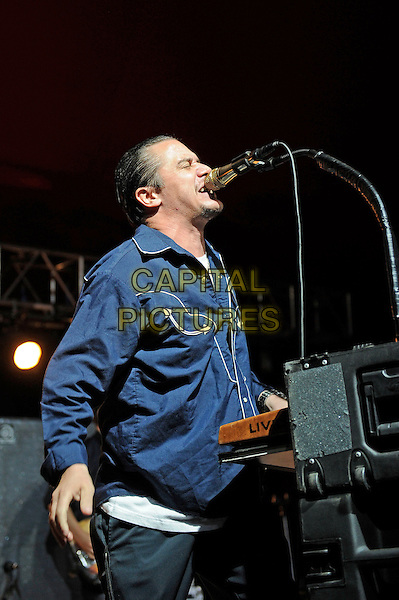 Mike Patton<br /> Tomahawk performing on the Lock Up stage, Reading Festival, Reading, England. <br /> 24th August 2013<br /> on stage in concert live gig performance performing music half length blue shirt side profile singing <br /> CAP/MAR<br /> &copy; Martin Harris/Capital Pictures