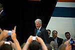 May 4, 2008. Kernersville., NC.. Just 2 days before the North Carolina primary, former president Bill Clinton campaigned across rural western North Carolina, stumping for his wife. Senator Hillary Clinton, in her drive for rural and working class votes.. Former President Clinton spoke to a crowd of 4 or 500  in a high school gym in Kernersville.