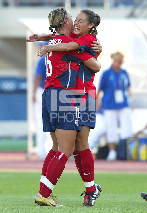 August 11th, 2004:  Kate Markgraf, right, celebrates with Abby Wambach after Wambach scored a goal against Greece at Pankritio Stadium in Heraklio, Greece.  USA defeated Greece, 3-0..Credit: Michael Pimentel / ISI