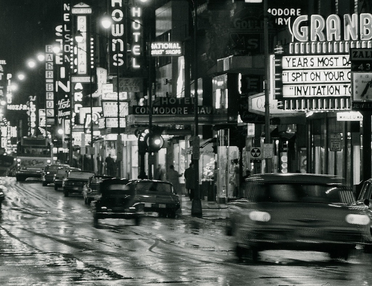 1963 February 12...Granby STreet looking South at night...NEG#.NRHA# 1001..