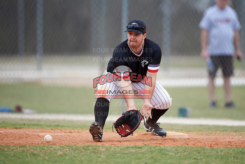 Edgewood College Eagles Callen Gavic (17) fields a throw during the second game of a doubleheader against Western Connecticut Colonials on March 13, 2017 at the Lee County Player Development Complex in Fort Myers, Florida.  Edgewood defeated Western Connecticut 2-1.  (Mike Janes/Four Seam Images)