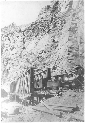 Engine 95 &quot;the Embuda&quot; on Howe trustle around 1882.<br /> D&amp;RG  Black Canyon, CO  ? 1882