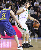 20.03.2012 Barcelona, Spain. Euroleague Playoff game 1. Picture show Petr Samoylenko (R) and Marcelinho Huertas(L) in action during match between FC Barcelona Regal against Unics Kazan at Palau Blaugrana