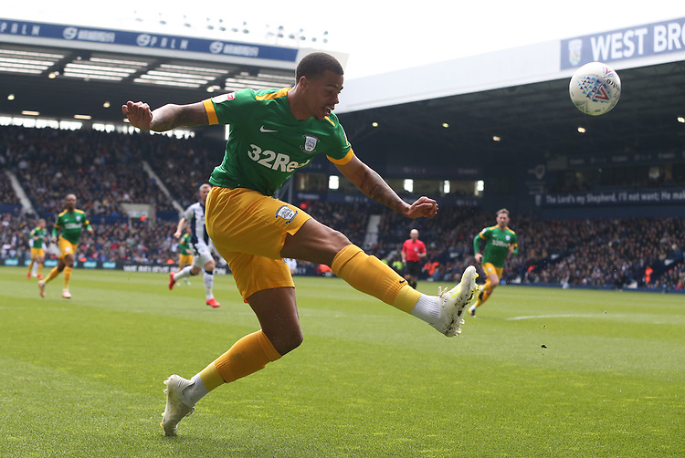Preston North End's Lukas Nmecha crosses the ball<br /> <br /> Photographer Stephen White/CameraSport<br /> <br /> The EFL Sky Bet Championship - West Bromwich Albion v Preston North End - Saturday 13th April 2019 - The Hawthorns - West Bromwich<br /> <br /> World Copyright © 2019 CameraSport. All rights reserved. 43 Linden Ave. Countesthorpe. Leicester. England. LE8 5PG - Tel: +44 (0) 116 277 4147 - admin@camerasport.com - www.camerasport.com