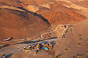 Namibia, Namib Desert, aerial view of lodge in Purros