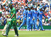 June 18th 2017, The Kia Oval, London, England;  ICC Champions Trophy Cricket Final; India versus Pakistan; India players celebrate taking the wicket of Fakhar Zaman of Pakistan