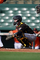 Pittsburgh Pirates catcher Jason Delay (64) waits to receive a pitch in front of home plate umpire Ben Engstrang during a Florida Instructional League game against the Baltimore Orioles on September 22, 2018 at Ed Smith Stadium in Sarasota, Florida.  (Mike Janes/Four Seam Images)