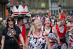 © Joel Goodman - 07973 332324 . 22/06/2014 .  Manchester , UK . Carrying the drums home after the parade . The 2014 Manchester Day Parade . Photo credit : Joel Goodman
