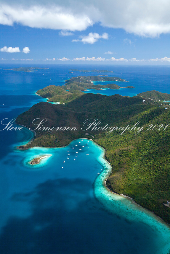 Aerial view of St. John showing Leinster Bay and Waterlemon Cay<br /> Virgin Islands National Park<br /> St. John<br /> U.S. Virgin Islands