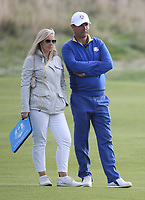 Padraig Harrington (Team Europe Vice-Captain) with wife Caroline during Sunday's Singles, at the Ryder Cup, Le Golf National, Île-de-France, France. 30/09/2018.<br /> Picture David Lloyd / Golffile.ie<br /> <br /> All photo usage must carry mandatory copyright credit (© Golffile | David Lloyd)
