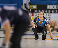 Glasgow. SCOTLAND.  Scotland&quot;s Lauren GRAY track's the path ohr &quot;Stone&quot;, during  the &quot;Round Robin&quot; Game.  Scotland vs Russia,  Le Gruy&egrave;re European Curling Championships. 2016 Venue, Braehead  Scotland<br /> Thursday  24/11/2016<br /> <br /> [Mandatory Credit; Peter Spurrier/Intersport-images]
