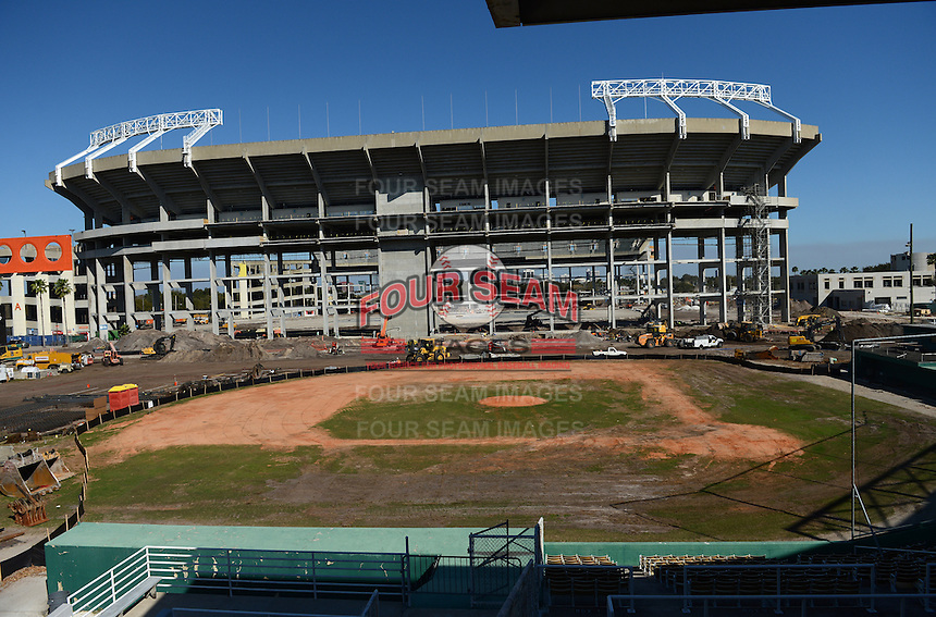 General view of Tinker Field, a former spring training site for the Cincinnati Reds, Brooklyn Dodgers, Washington Senators, and Minnesota Twins as well as a minor league stadium, that is possibly being demolished with some portions moved due to renovations at the Citrus Bowl shown in the background.  February 19, 2014 at Tinker Field in Orlando, Florida.  (Mike Janes/Four Seam Images)