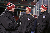 Albie O'Connell (Harvard - Assistant Coach), Jerry Forton (Harvard - Assistant Coach), Ted Donato (Harvard - Head Coach) - The Union College Dutchmen defeated the Harvard University Crimson 2-0 on Friday, January 13, 2012, at Fenway Park in Boston, Massachusetts.
