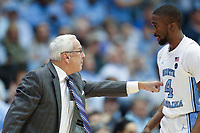 CHAPEL HILL, NC - JANUARY 4: Head coach Roy Williams and Brandon Robinson #4 of the University of North Carolina during a game between Georgia Tech and North Carolina at Dean E. Smith Center on January 4, 2020 in Chapel Hill, North Carolina.