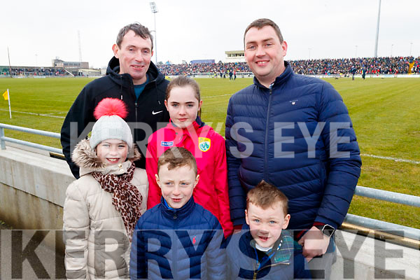 Patrick O'Connor Rachel Murphy, Lauren O'Connor, Ethan Collins, Patrick Collins and Killian Collins, Knocknagoshel, Kerry fans pictured at the Allianz Football League Kerry v Galway, at Austin Park, Tralee, on Sunday last.