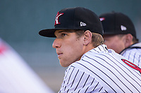 Zach Remillard (8) of the Kannapolis Intimidators watches from the ddugout during the game against the Lakewood BlueClaws at Kannapolis Intimidators Stadium on April 9, 2017 in Kannapolis, North Carolina.  The BlueClaws defeated the Intimidators 7-1.  (Brian Westerholt/Four Seam Images)