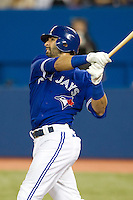 Toronto Blue Jays outfielder Jose Bautista #19 during an American League game against the Boston Red Sox at Rogers Centre on June 3, 2012 in Toronto, Ontario.  (Mike Janes/Four Seam Images)