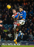 04.03.2020: Rangers v Hamilton: Connor Goldson tries to place a header in the net
