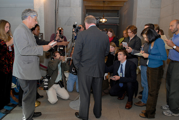 Tome Reynolds talks with reporters after he testified before a subcommittee of the House Ethics Committee investigating  the Mark Foley page scandal. Reynolds had said earlier that he warned Speaker Hastert this spring about then-Rep. Mark Foley.