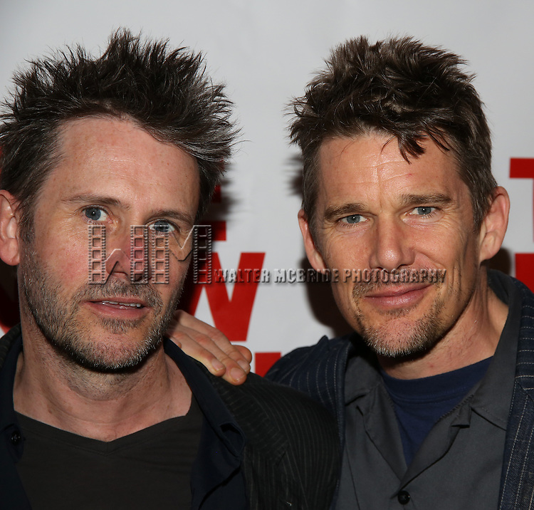 """Josh Hamilton and Ethan Hawke attends the Opening Night of The New Group World Premiere of """"All The Fine Boys"""" at the The Green Fig Urban Eatery on March 1, 2017 in New York City."""