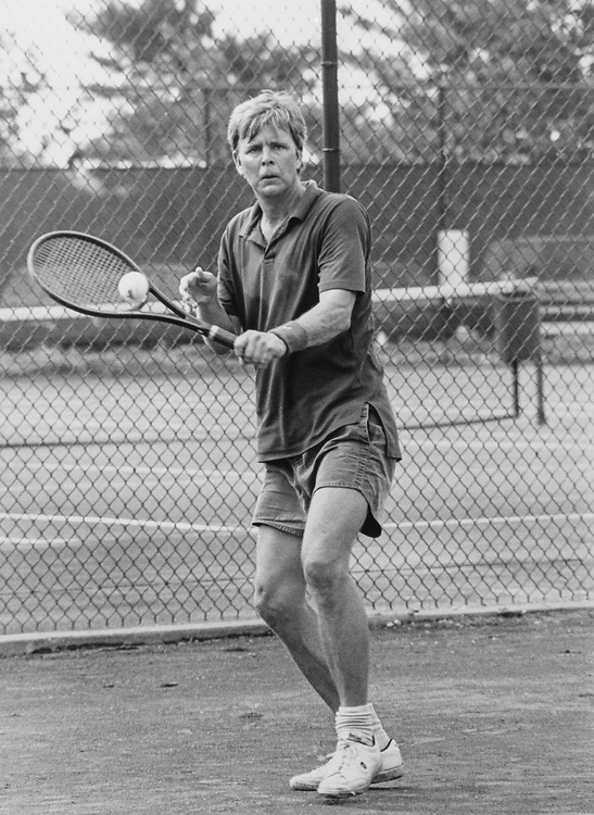 Capitol Hill tennis club round robin, Rep. Peter Plympton Smith, R-Vt., on July 10, 1990. (Photo by Maureen Keating/CQ Roll Call)