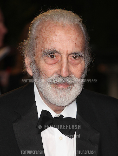 Sir Christopher Lee arriving for the Royal World Premiere of 'Skyfall' at Royal Albert Hall, London. 23/10/2012 Picture by: Alexandra Glen / Featureflash