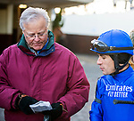 December 7th, 2019: Trainer Bill Mott and jockey Junior Alvarado discuss pre-race strategy for the G2 Domoiselle [which they won] at Aqueduct Race Track in Ozone Park, New York.  Dan Heary/Eclipse Sportswire/CSM