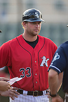 Kannapolis Intimidators manager Cole Armstrong (33) prior to the game against the Asheville Tourists at Kannapolis Intimidators Stadium on May 26, 2016 in Kannapolis, North Carolina.  The Tourists defeated the Intimidators 9-6 in 11 innings.  (Brian Westerholt/Four Seam Images)