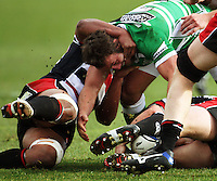 Manawatu flanker Doug Tietjens tries to turn over tackled ball during the Air NZ Cup rugby match between Manawatu Turbos and Counties-Manukau Steelers at FMG Stadium, Palmerston North, New Zealand on Sunday, 2 August 2009. Photo: Dave Lintott / lintottphoto.co.nz