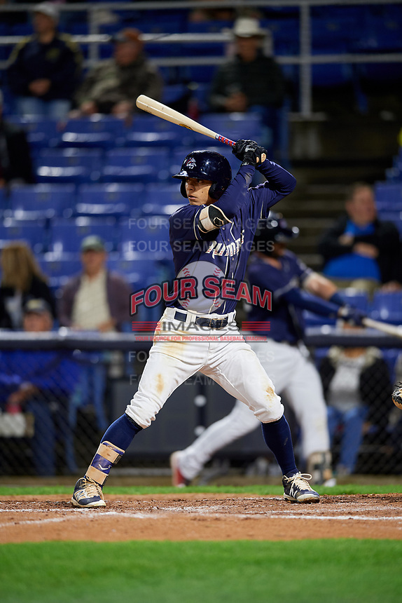 Binghamton Rumble Ponies shortstop Andres Gimenez (2) at bat during a game against the Portland Sea Dogs on August 31, 2018 at NYSEG Stadium in Binghamton, New York.  Portland defeated Binghamton 4-1.  (Mike Janes/Four Seam Images)
