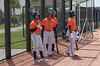 Houston Astros (L-R) Ronaldo Urdaneta (28), Deury Carrasco (8), Rhandall Sanchez (92), and Yorbin Cueta (head turned) during a Minor League Spring Training Intrasquad game on March 28, 2019 at the FITTEAM Ballpark of the Palm Beaches in West Palm Beach, Florida.  (Mike Janes/Four Seam Images)