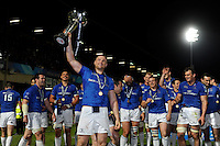 Jamie Heaslip of Leinster holds the trophy aloft after winning the Amlin Challenge Cup Final between Leinster Rugby and Stade Francais at the RDS Arena, Dublin on Friday 17th May 2013 (Photo by Rob Munro).