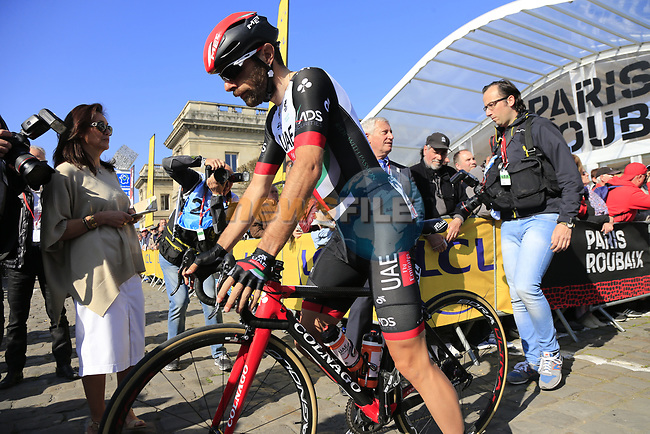 Matteo Bono (ITA) UAE Team Emirates at sign on for the 115th edition of the Paris-Roubaix 2017 race running 257km Compiegne to Roubaix, France. 9th April 2017.<br /> Picture: Eoin Clarke   Cyclefile<br /> <br /> <br /> All photos usage must carry mandatory copyright credit (&copy; Cyclefile   Eoin Clarke)