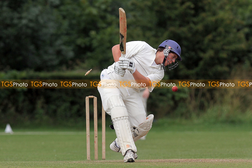 Upminster bowler Alan Ison claims his fifth wicket - Gidea Park & Romford CC (batting) vs Upminster CC - Essex Cricket League Dukes Twenty20 Competition - 18/06/11 - MANDATORY CREDIT: Gavin Ellis/TGSPHOTO - Self billing applies where appropriate - Tel: 0845 094 6026