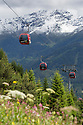 Cable cars at Fiss, Nordtirol, Austrian Alps, Austria, June.