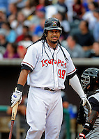 Jun. 23, 2009; Albuquerque, NM, USA; Albuquerque Isotopes outfielder Manny Ramirez against the Nashville Sounds at Isotopes Stadium. Ramirez is playing in the minor leagues while suspended for violating major league baseballs drug policy. Mandatory Credit: Mark J. Rebilas-