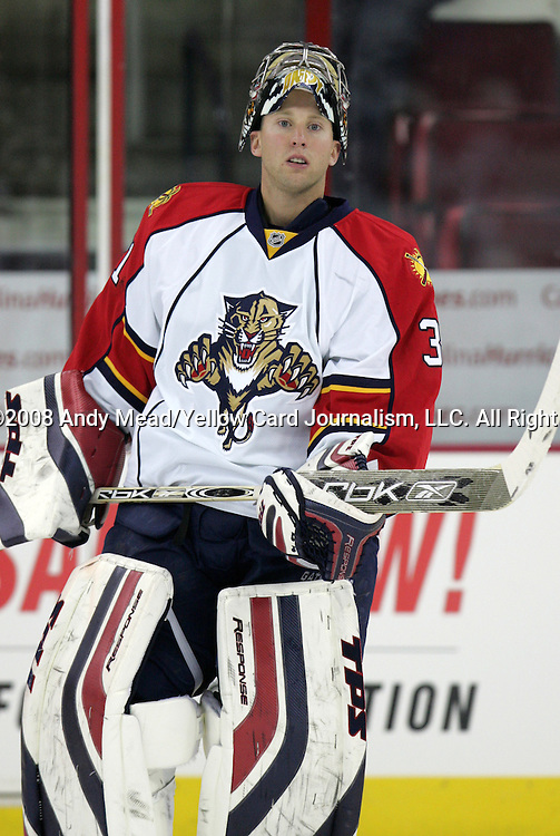 10 October 2008: Florida's Craig Anderson. The Carolina Hurricanes defeated the Florida Panthers 6-4 at the RBC Center in Raleigh, NC on opening night in a 2008-09 National Hockey League regular season game.