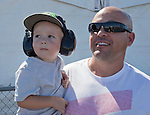 Jeff and 2-year old Logan Dix, from Brentwood, CA at the Air Races at the Reno-Stead Airfield on Sunday, Sept. 20, 2015.