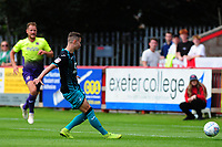 Bersant Celina of Swansea City scores his side's second goal during the pre season friendly match between Exeter City and Swansea City at St James Park in Exeter, England, UK. Saturday, 20 July 2019