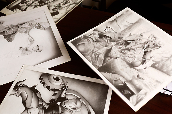 May 11, 2016. Kernersville, North Carolina. <br />  Pencil drawings that PFC. Corey R. Clagett made while incarcerated at the United States Disciplinary Barracks at Fort Leavenworth for nearly 10 years. <br />  PFC. Clagett pleaded guilty in 2007 to the charges of murder, attempted murder, conspiracy to commit murder and conspiracy to obstruct justice in the killing of 3 Iraqi detainees while he was deployed to Iraq as part of the 101st Airborne Division. Released on March 31, 2016, Clagett now works for the United American Patriots as the Community/Veterans Liason.<br />  United American Patriots (UAP) is a non profit organization that offers funds for the defense of US service members accused of crimes during combat. Believing that the courts marshall system is weighted in the favor of the government, the UAP started the Warrior Fund 10 years ago to try and secure equal representation for service members attempting to prove their innocence in military courts.