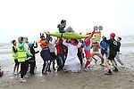 Tim O'Driscoll, Johnny Tuffy, Alan Rooney, members of the under 15 Boyne Rugby Team and participants from the 5Km St Marys Drumcar Walk Run perform the Harlem Shake on Bettystown Beach...(Photo credit should read NEWSFILE)...