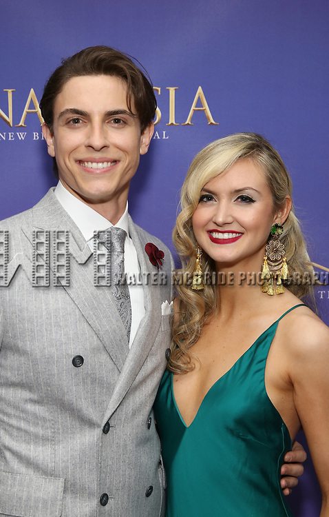 Derek Klena and Elycia Scriven attends Broadway Opening Night After Party for 'Anastasia' at the Mariott Marquis Hotel on April 24, 2017 in New York City.