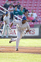 July 7, 2009: Tri-City Dust Devils' Orlando Sandoval runs out of the batter's box during a Northwest League game against the Salem-Keizer Volcanoes at Volcanoes Stadium in Salem, Oregon.