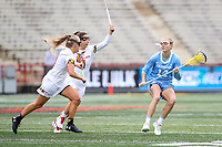 College Park, MD - February 24, 2019: North Carolina Tar Heels Scottie Rose Growney (14) is being defended by several Maryland Terrapins defenders during the game between North Carolina and Maryland at  Capital One Field at Maryland Stadium in College Park, MD.  (Photo by Elliott Brown/Media Images International)