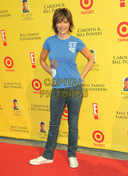 LISA RINNA .at The 2008 P.S. Arts' Express Yourself sponsored by Target held at Barker Hangar in Santa Monica, California, USA,  November 16th 2008.                                                                     .full length blue t-shirt jeans trainers converse hand on hip.CAP/DVS.©Debbie VanStory/Capital Pictures