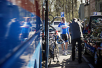 Dan Martin (IRL/Garmin-Sharp) posing for a fan at the start in Bastogne<br /> <br /> La Flèche Wallonne 2014