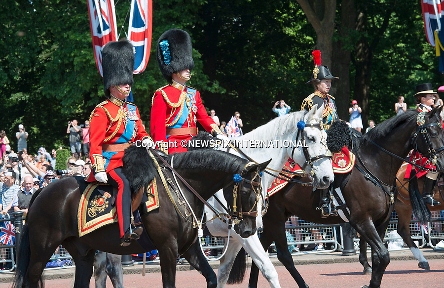 17.06.2017; London, UK: PRINCESS ANNE, PRINCES CHARLES AND  WILLIAM<br /> attend the Trooping The Colour to celebrate the Queen&rsquo;s 91st Official Birthday<br /> Royals present included the Duke of Edinburgh, Prince Charles and Camilla, Duchess of Cornwall, Prince William, Kate Middleton, Prince George; Princess Charlotte; Prince Harry, Prince Andrew; Princess Beatrice, Princess Eugenie, Prince Edward, Princess Anne, Zara Phillips &amp; Mike Tindal, Prince and Princess Michael Of Kent, Lady Helen Taylor, Duke of Kent, Duke of Gloucester and Duchess of Gloucester,Peter Phillips and Autumn and Lady Amelia Windsor.<br /> Mandatory Credit Photo: &copy;Francis Dias/NEWSPIX INTERNATIONAL<br /> <br /> IMMEDIATE CONFIRMATION OF USAGE REQUIRED:<br /> Newspix International, 31 Chinnery Hill, Bishop's Stortford, ENGLAND CM23 3PS<br /> Tel:+441279 324672  ; Fax: +441279656877<br /> Mobile:  07775681153<br /> e-mail: info@newspixinternational.co.uk<br /> Usage Implies Acceptance of OUr Terms &amp; Conditions<br /> Please refer to usage terms. All Fees Payable To Newspix International