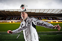 Friday 14 February 2014<br /> Pictured:Mark Bamford pictured inside the Liberty Stadium, Swansea<br /> Re: Mark Bamford  headed the ball after it came over the cross bar during the Swansea City v Cardiff City derby game at the Liberty Stadium